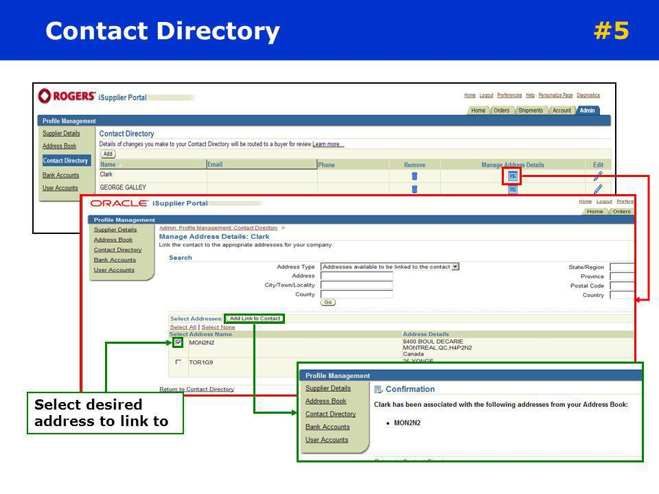 Contact Directory #5 Select desired address to link to