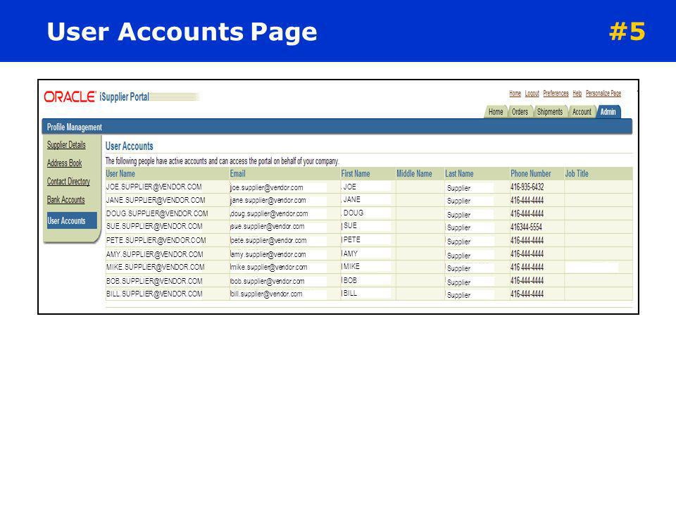 User Accounts Page #5 JOE.SUPPLIER@VENDOR.COM JANE.SUPPLIER@VENDOR.COM