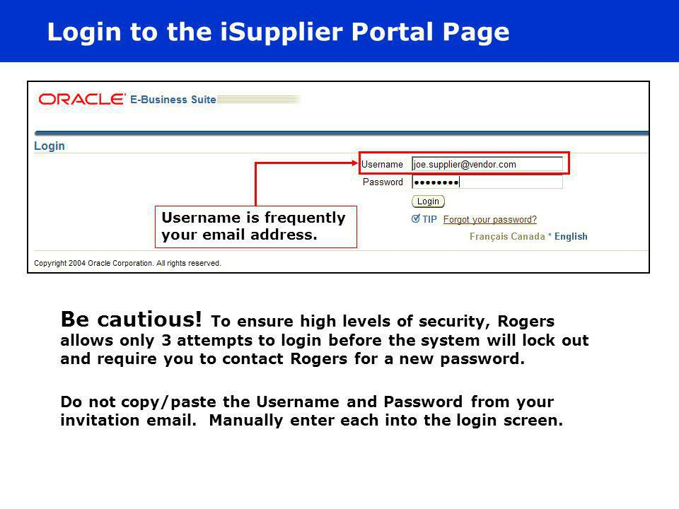 Login to the iSupplier Portal Page