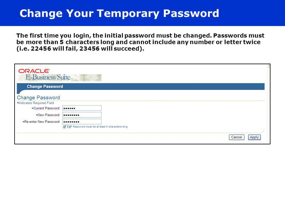 Change Your Temporary Password
