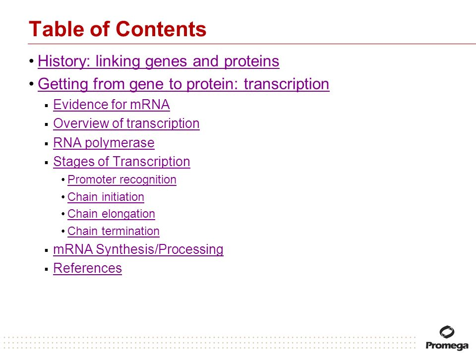 Table of Contents History: linking genes and proteins