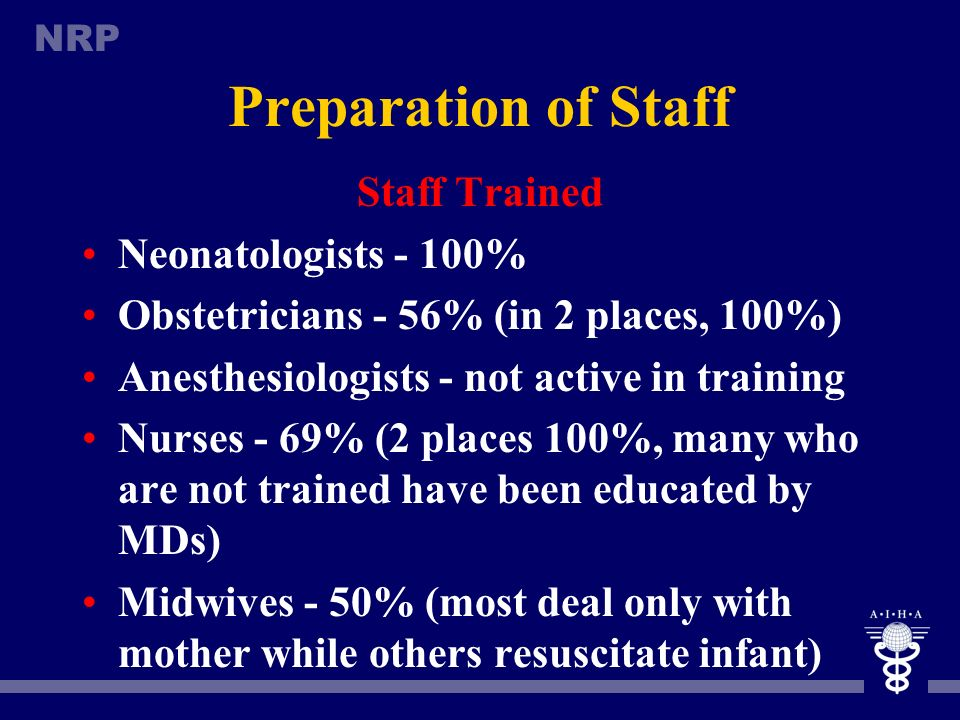 Preparation of Staff Staff Trained Neonatologists - 100%