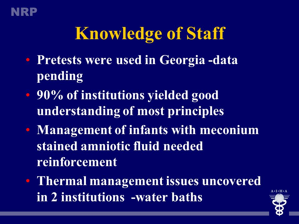 Knowledge of Staff Pretests were used in Georgia -data pending