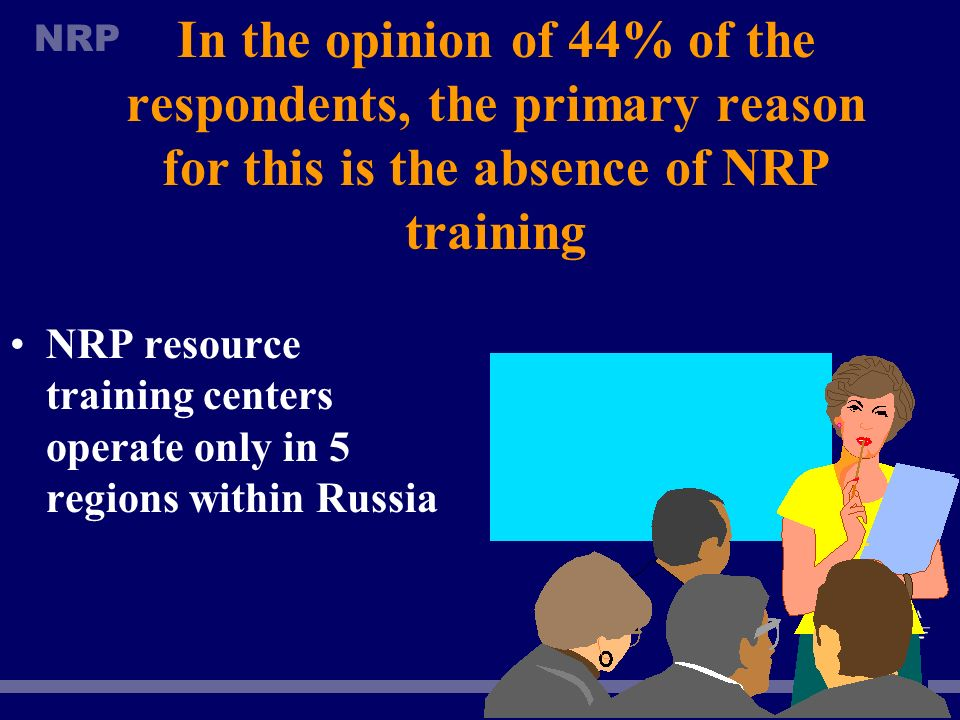 In the opinion of 44% of the respondents, the primary reason for this is the absence of NRP training
