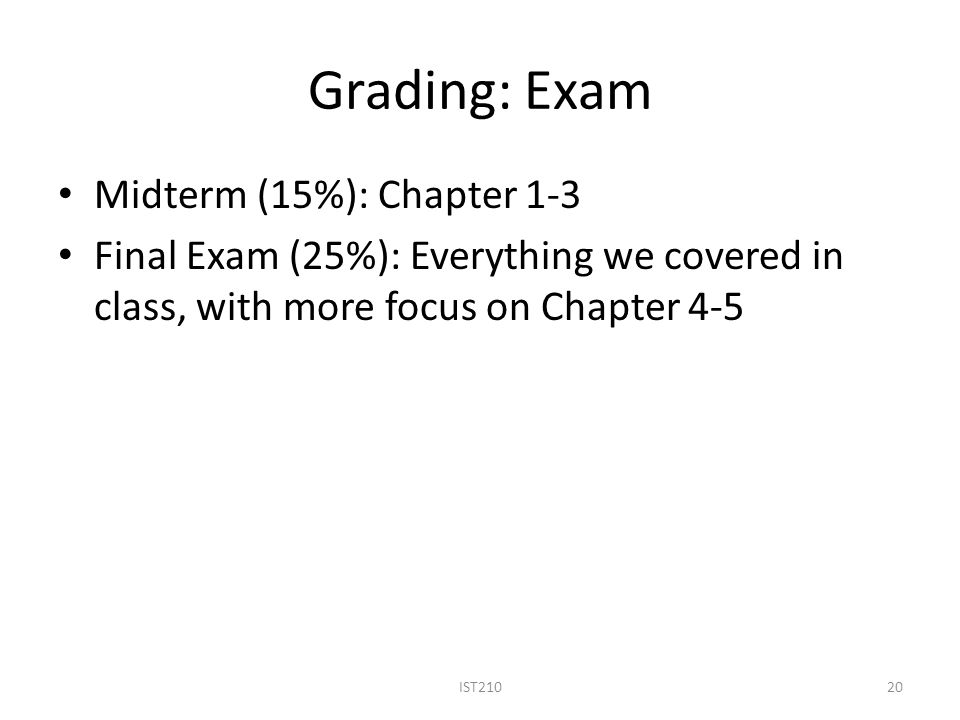 Grading: Exam Midterm (15%): Chapter 1-3