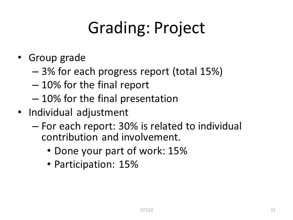 Grading: Project Group grade 3% for each progress report (total 15%)