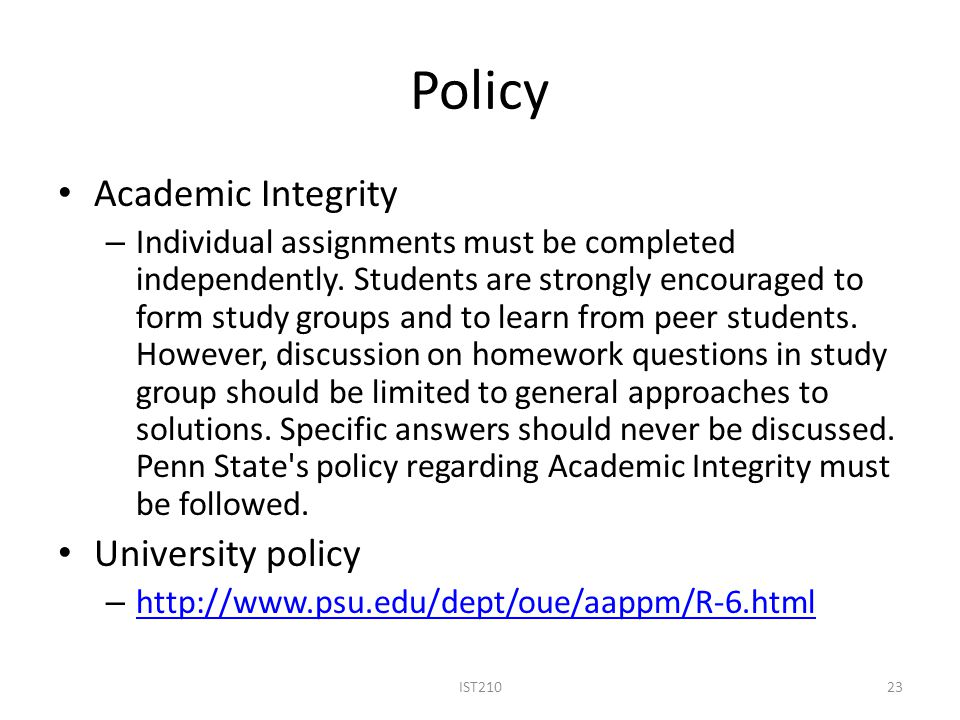 Policy Academic Integrity University policy