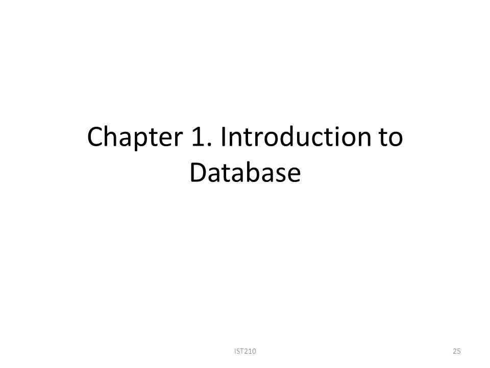 Chapter 1. Introduction to Database