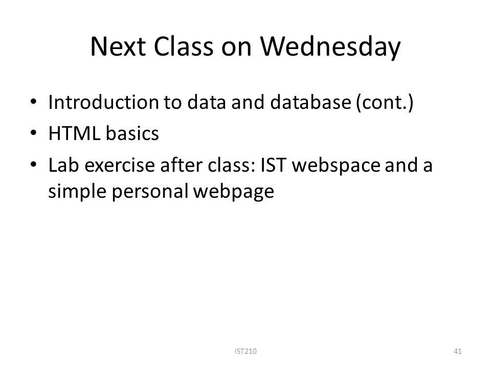 Next Class on Wednesday