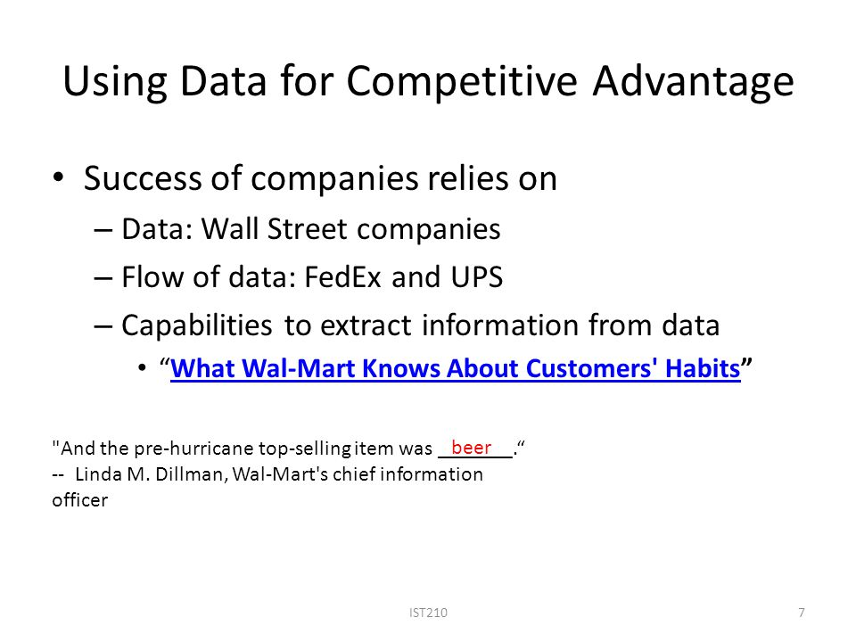 Using Data for Competitive Advantage