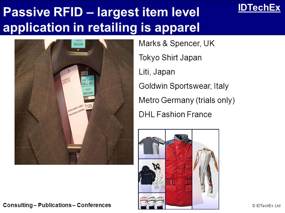 Passive RFID – largest item level application in retailing is apparel