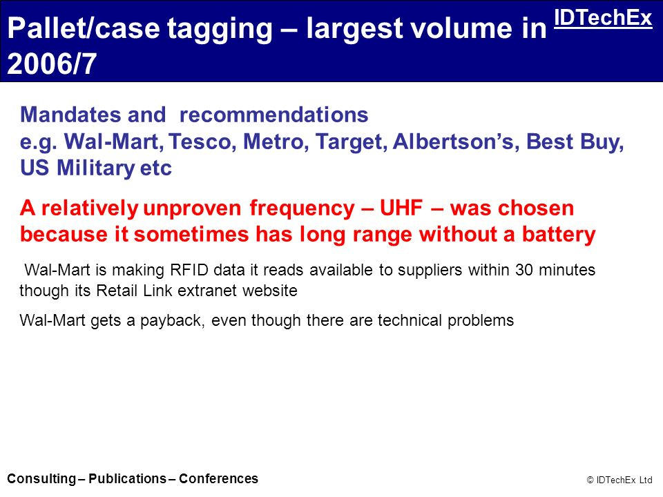 Pallet/case tagging – largest volume in 2006/7