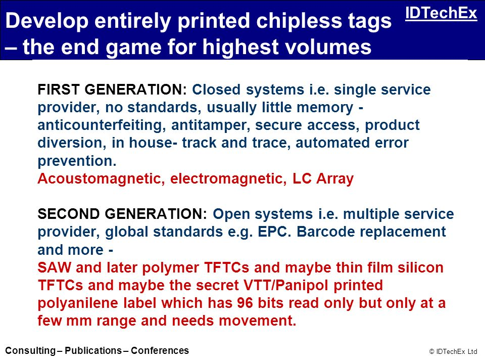 Develop entirely printed chipless tags – the end game for highest volumes