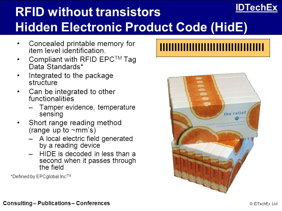 RFID without transistors Hidden Electronic Product Code (HidE)