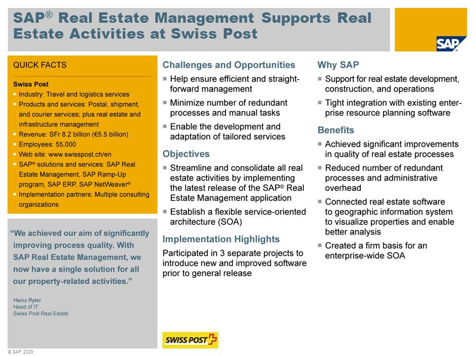 SAP® Real Estate Management Supports Real Estate Activities at Swiss Post