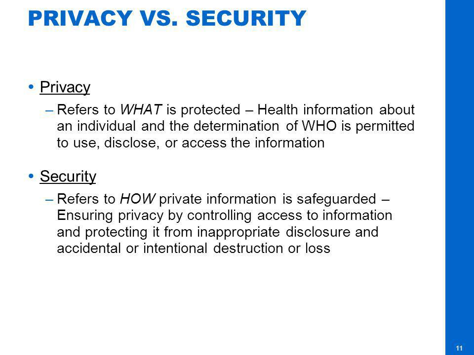 PRIVACY VS. SECURITY Privacy Security