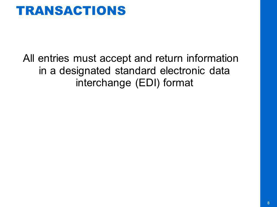 TRANSACTIONS All entries must accept and return information in a designated standard electronic data interchange (EDI) format.