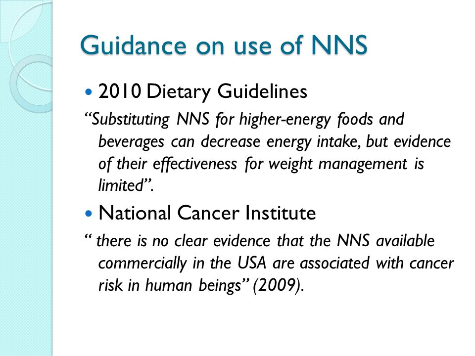 Guidance on use of NNS 2010 Dietary Guidelines