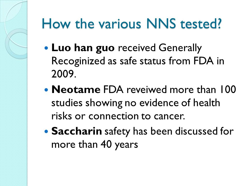 How the various NNS tested