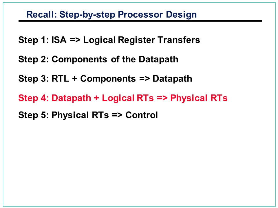 Recall: Step-by-step Processor Design