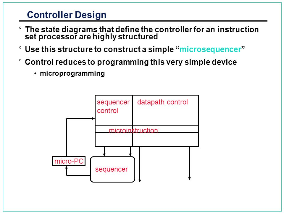 Controller Design The state diagrams that define the controller for an instruction set processor are highly structured.