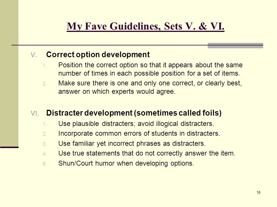 My Fave Guidelines, Sets V. & VI.