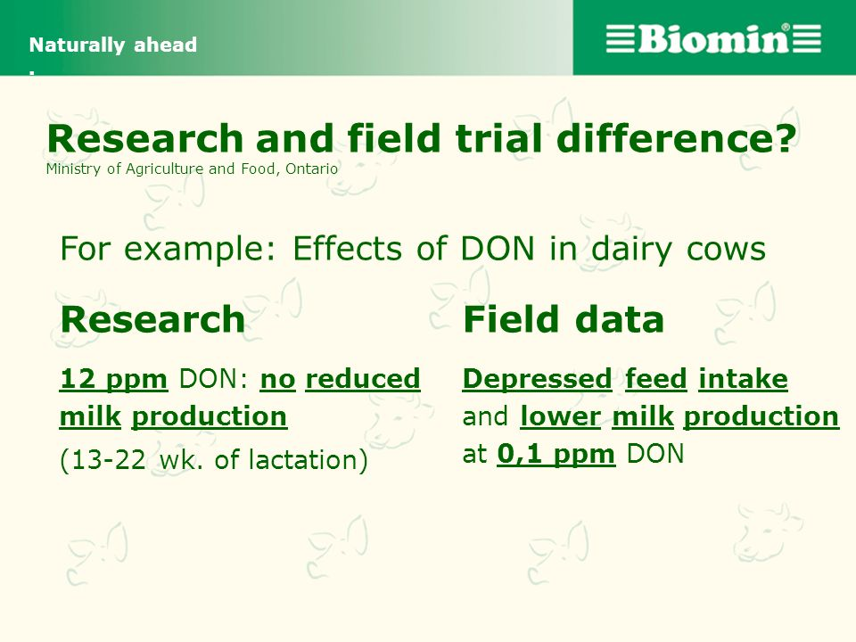 Naturally ahead . Research and field trial difference Ministry of Agriculture and Food, Ontario. For example: Effects of DON in dairy cows.