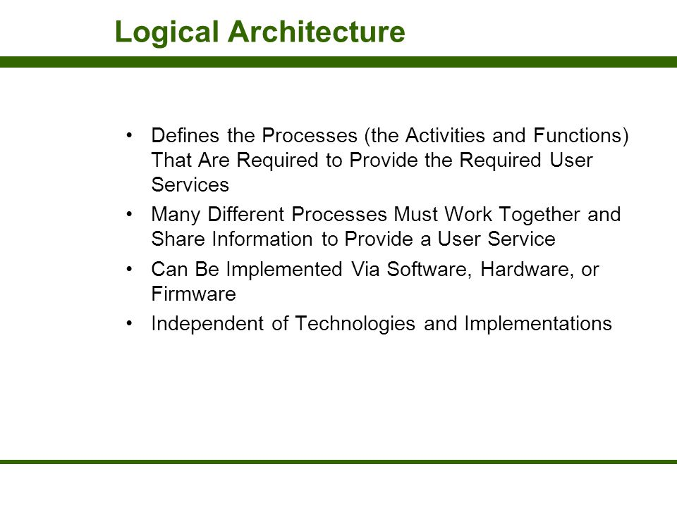 Logical Architecture Defines the Processes (the Activities and Functions) That Are Required to Provide the Required User Services.