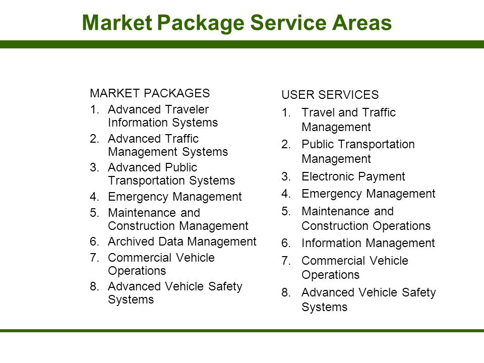 Market Package Service Areas