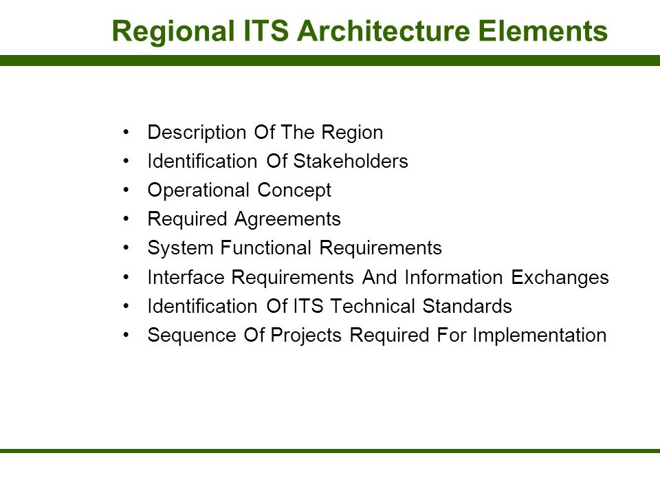 Regional ITS Architecture Elements