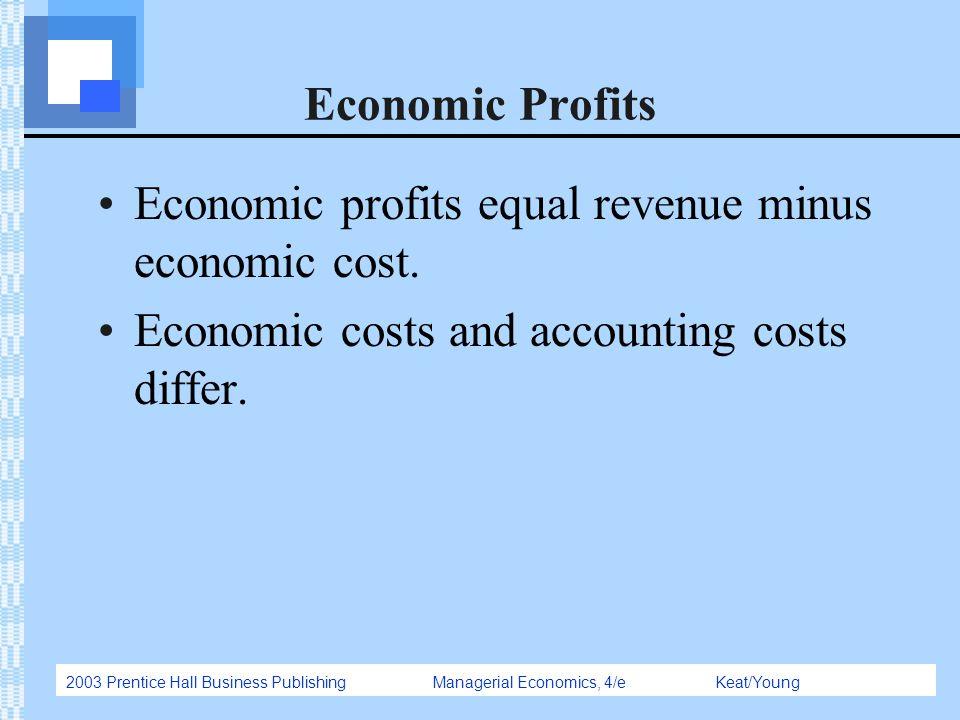 Economic Profits Economic profits equal revenue minus economic cost.