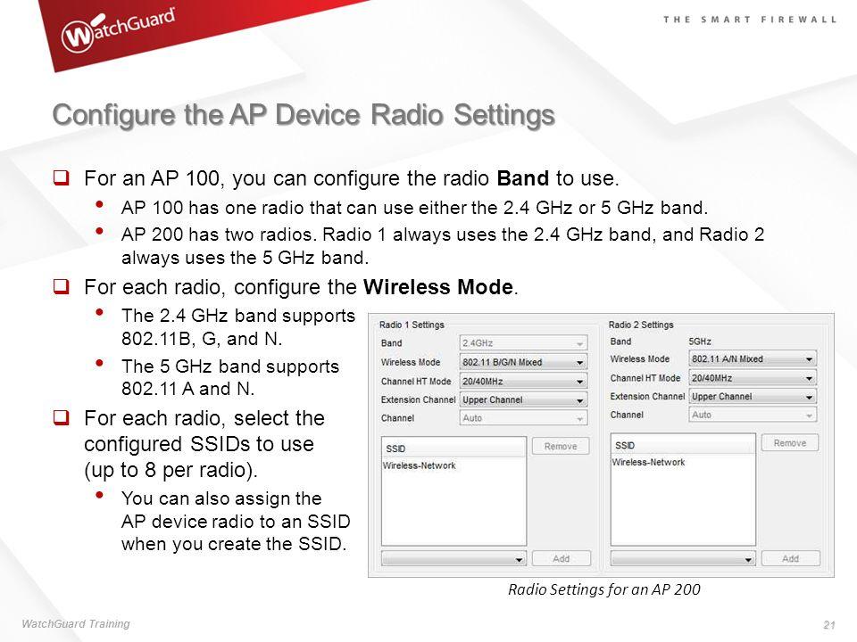 Configure the AP Device Radio Settings