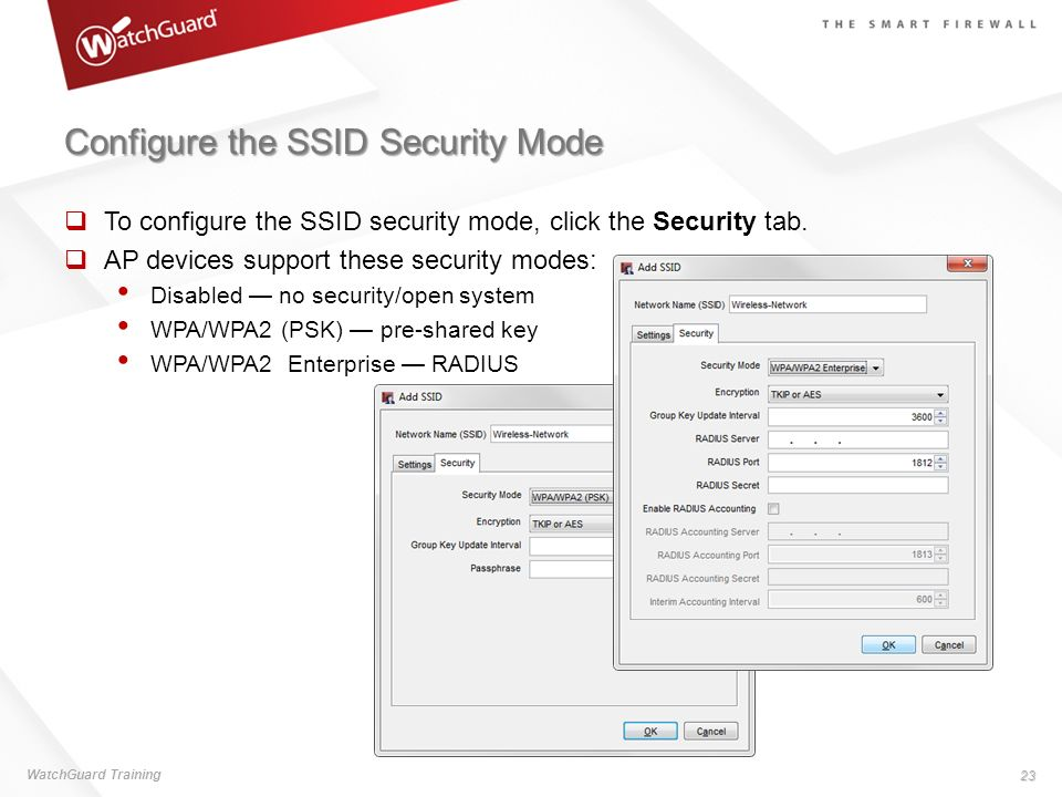 Configure the SSID Security Mode