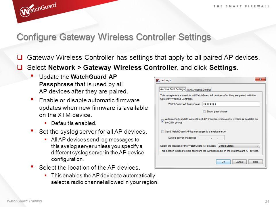 Configure Gateway Wireless Controller Settings