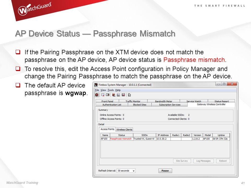 AP Device Status — Passphrase Mismatch