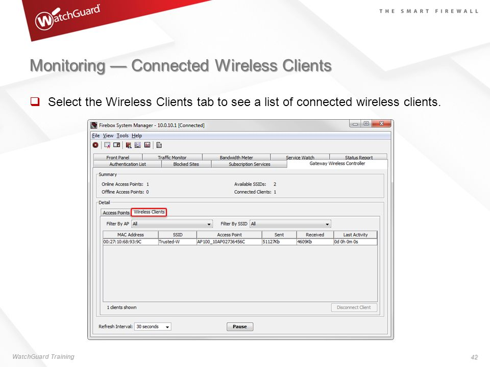 Monitoring — Connected Wireless Clients