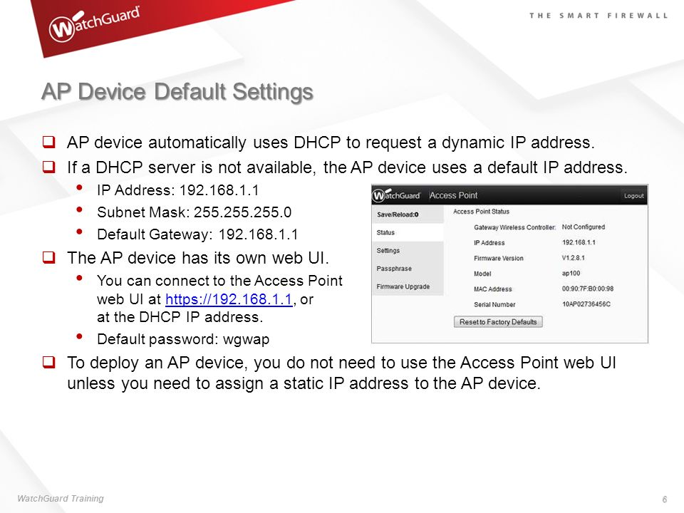 AP Device Default Settings