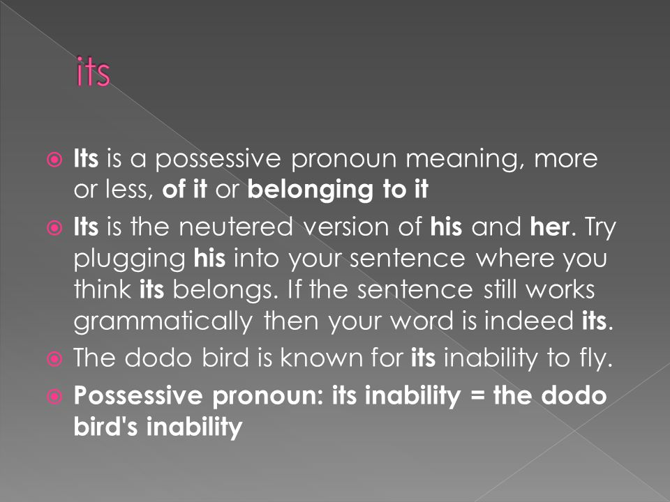 its Its is a possessive pronoun meaning, more or less, of it or belonging to it.