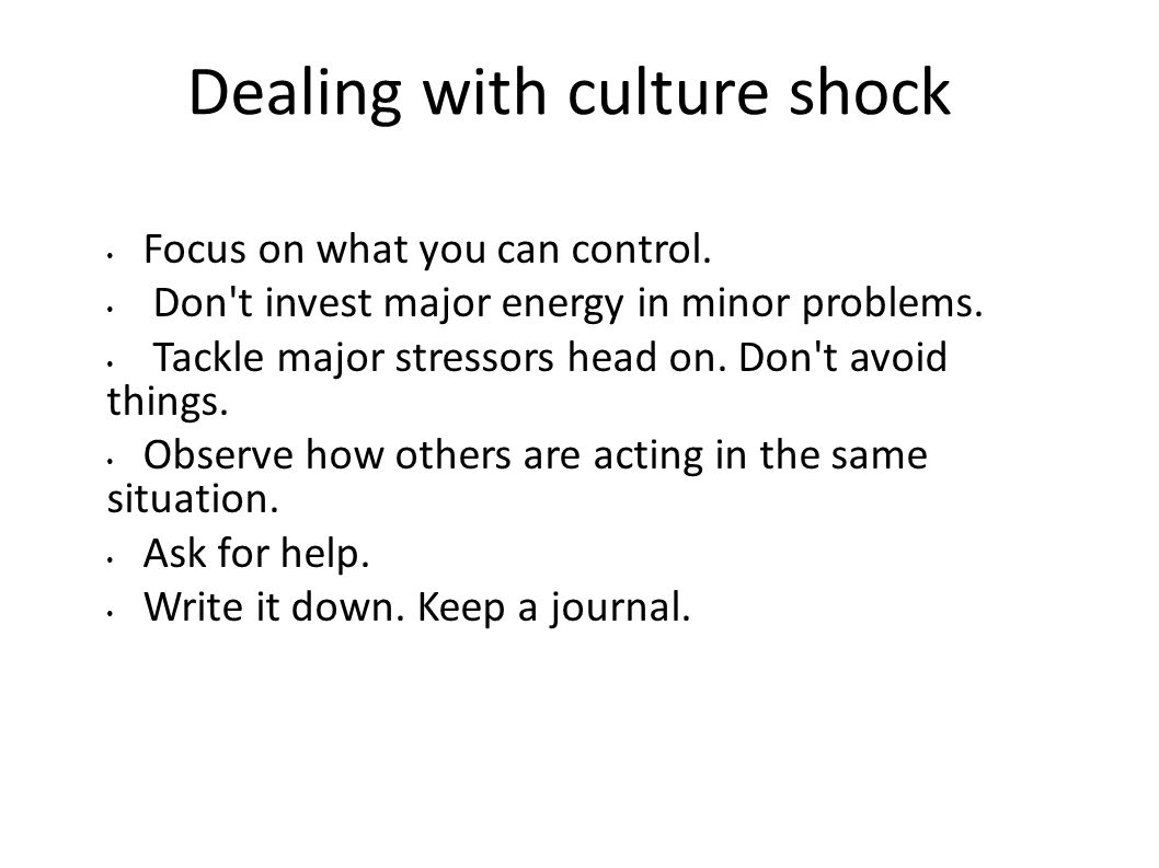 Coping with Culture Shock