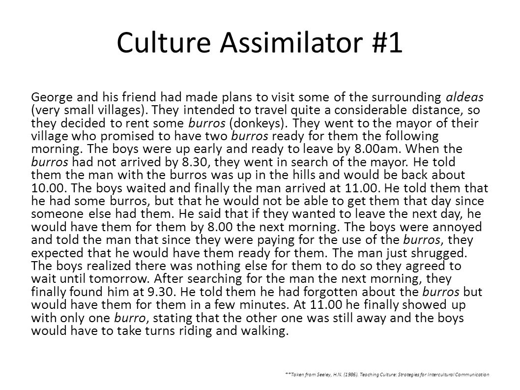 Culture Assimilator #1
