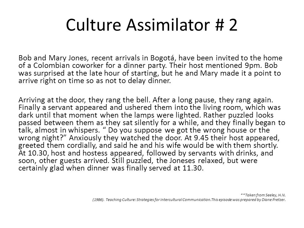 Culture Assimilator # 2