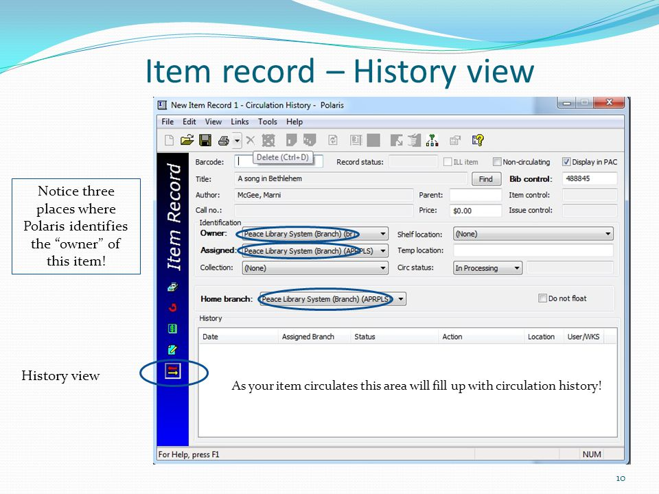 Item record – History view