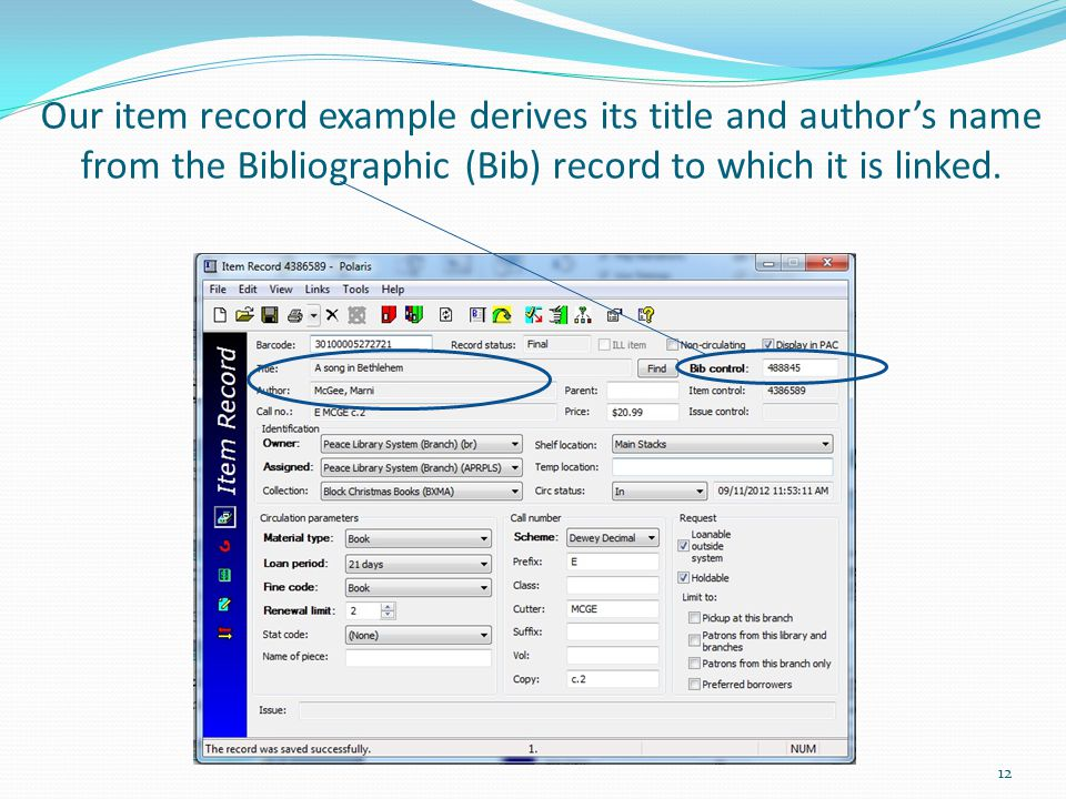 Our item record example derives its title and author's name from the Bibliographic (Bib) record to which it is linked.