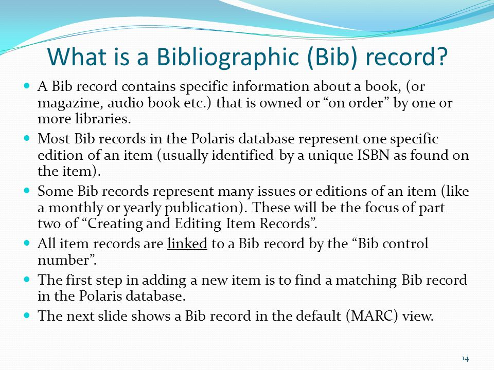 What is a Bibliographic (Bib) record