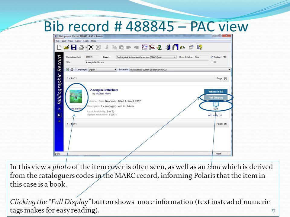 Bib record # 488845 – PAC view