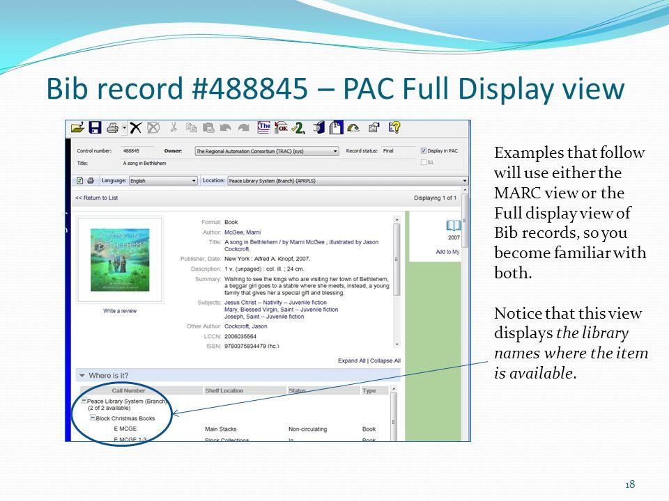 Bib record #488845 – PAC Full Display view