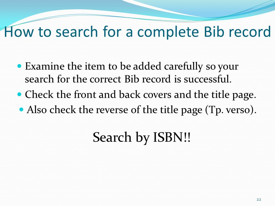 How to search for a complete Bib record