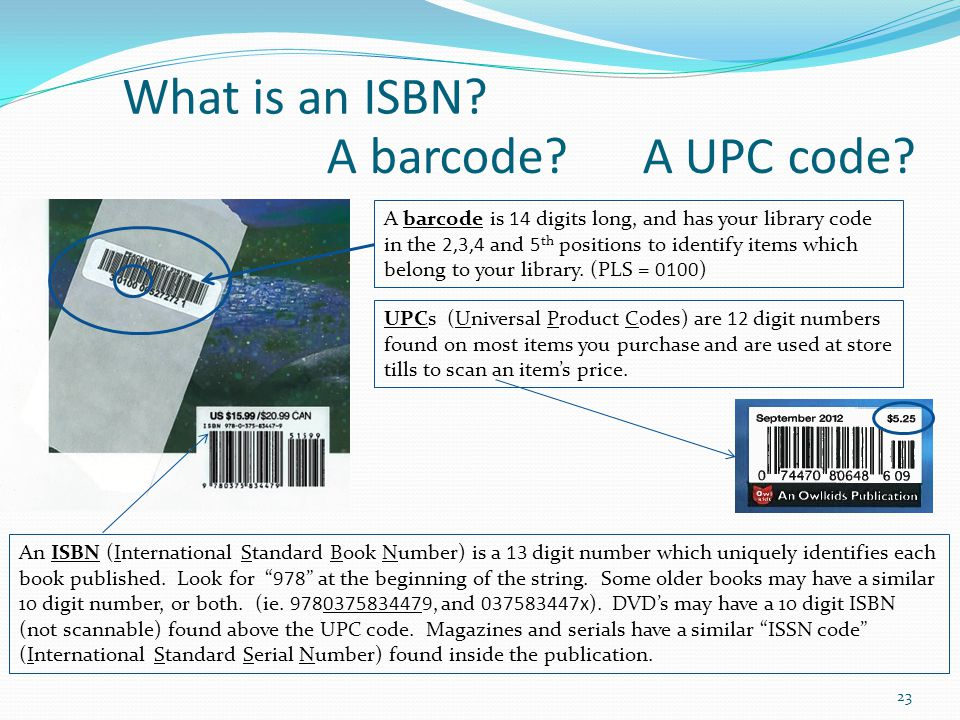 What is an ISBN A barcode A UPC code