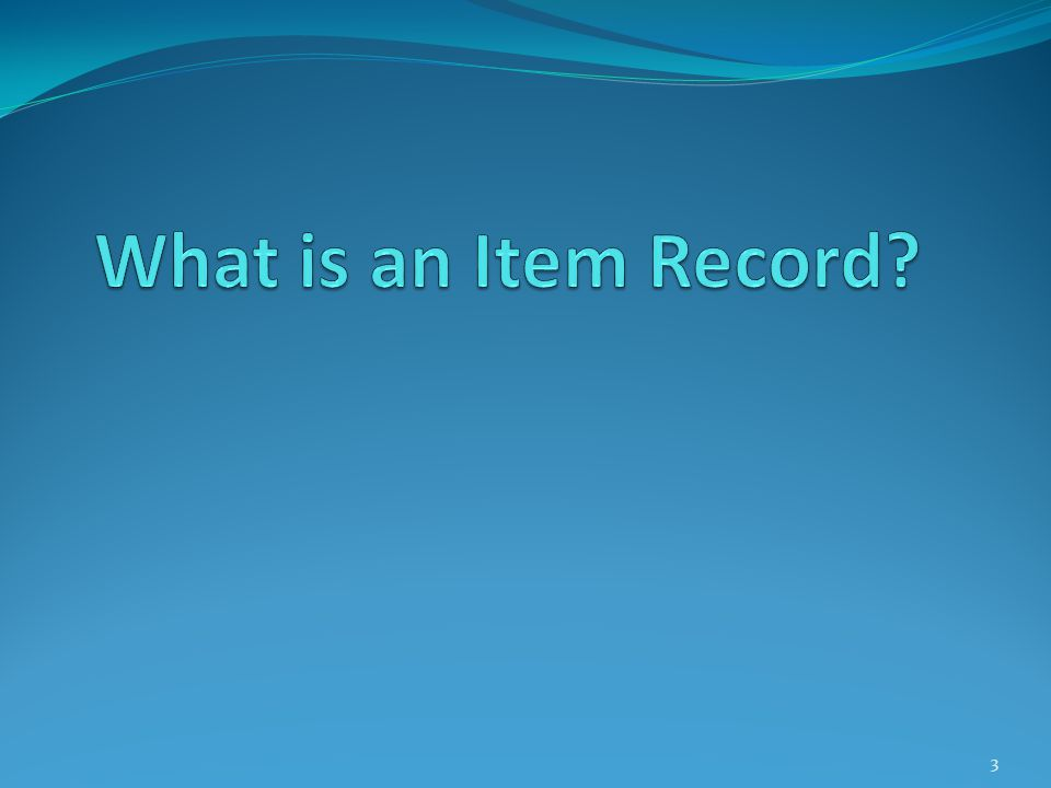What is an Item Record