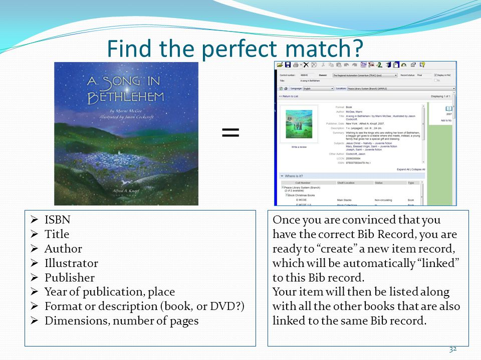 = Find the perfect match ISBN Title Author Illustrator Publisher
